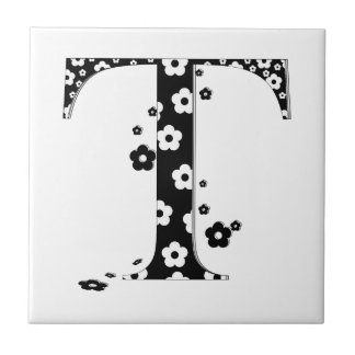 flower Patterned Letter T Small Square Tile