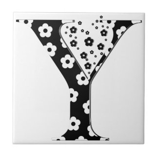 flower Patterned Letter Y Small Square Tile