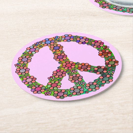 Flower Peace Sign Symbol Floral Pink Round Paper
