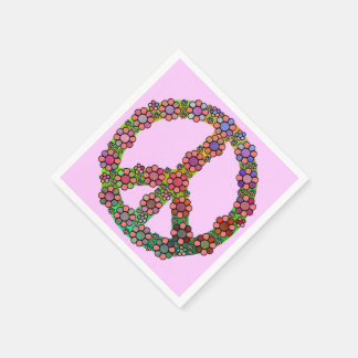 Flower Peace Sign Symbol Floral Pretty Disposable Serviette