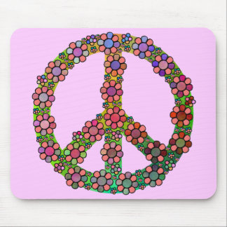 Flower Peace Sign Symbol Mouse Pad