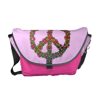 Flower Peace Sign Symbol Pink Pretty Messenger Bags