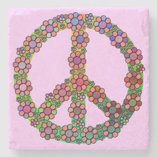 Flower Peace Sign Symbol Stone Beverage Coaster