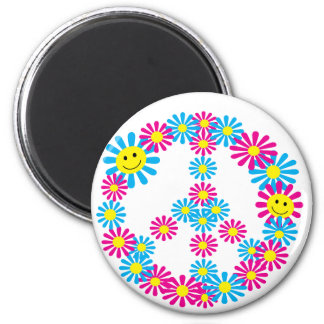 Flower Peace Sign w/Smiley Faces 6 Cm Round Magnet