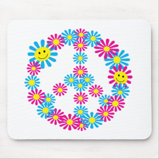 Flower Peace Sign w/Smiley Faces Mouse Pad