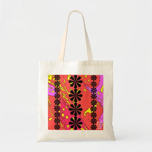 Flower Peach Pink Outline Tote Bag