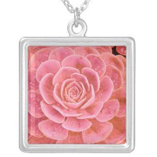 Flower Pendent Square Pendant Necklace