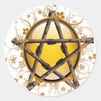Flower Pentagram Classic Round Sticker