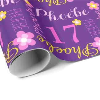 Flower personalised name age 17th birthday wrap