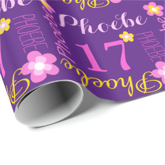 Flower personalized name age 17th birthday wrap wrapping paper