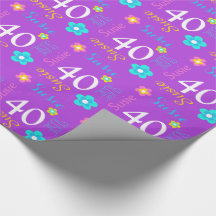 Flower personalized name age 40th birthday wrap wrapping paper