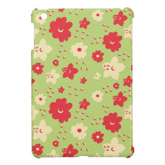 Flower Petal Green and Pink Vintage Print iPad Mini Cases