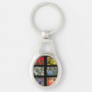 Flower Photo Collage in Black Frame Silver-Colored Oval Key Ring