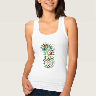 Flower Pineapple Tropical Print Tank Top