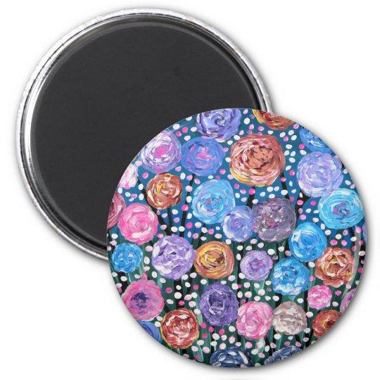 Flower Pop 6 Cm Round Magnet