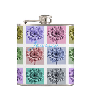 Flower Pop Art Hip Flask