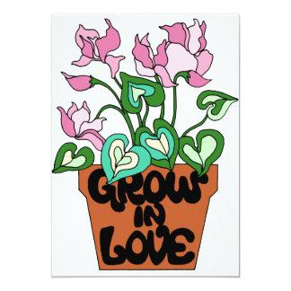 Flower Pot Grow in Love 13 Cm X 18 Cm Invitation Card