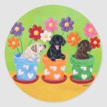 Flower Pot Lab Puppies Painting Stickers