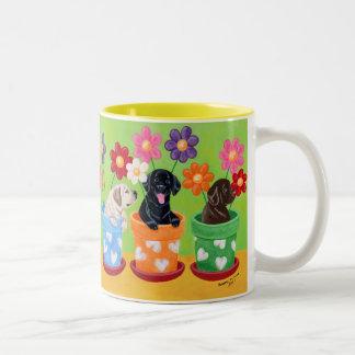 Flower Pot Labrador Puppies Coffee Mugs