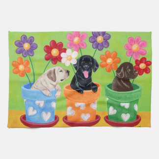 Flower Pot Labrador Puppies Painting Tea Towel