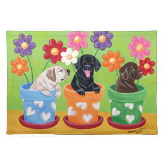 Flower Pot Labrador Puppies Placemat