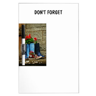 Flower pot wellies boots and runner dry erase board