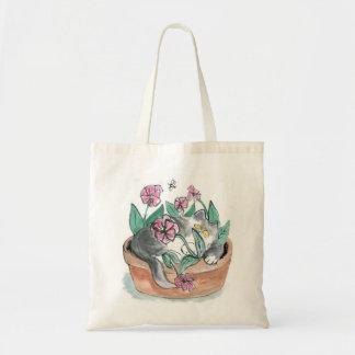 Flower pot... what flower pot? Kitten Nap Tote Bags