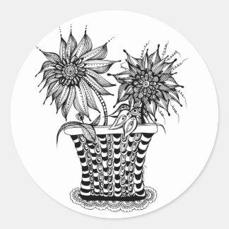 Flower Pot Zentangle art Round Sticker