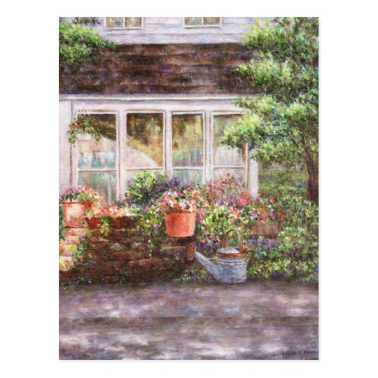 Flower Pots and a Flower Barrel  Postcard