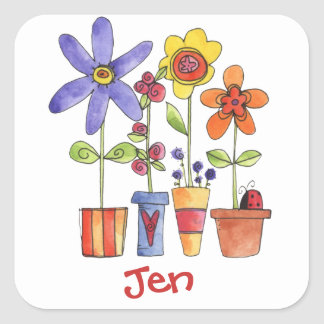 flower pots square sticker
