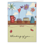 Flower Pots Thinking of You Notecard Card