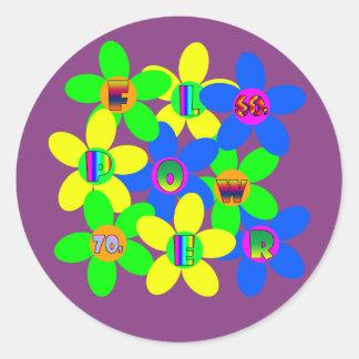 Flower Power 60s-70s 2 Classic Round Sticker