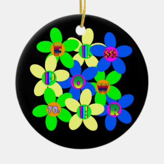 Flower Power 60s-70s Round Ceramic Decoration