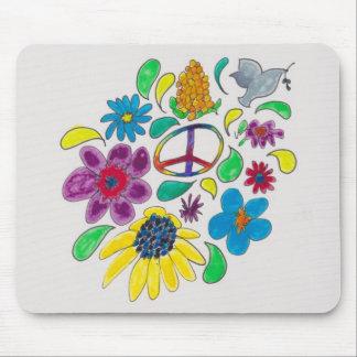 flower power '60's peace symbols mouse pad