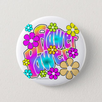 Flower Power 6 Cm Round Badge