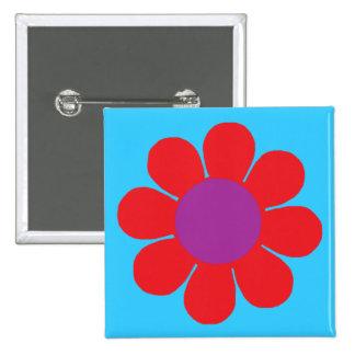 Flower Power 15 Cm Square Badge