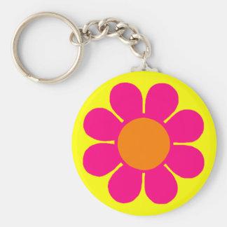 Flower Power Basic Round Button Key Ring