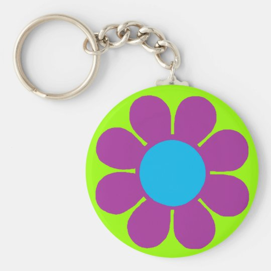 Flower Power Basic Round Button Key Ring