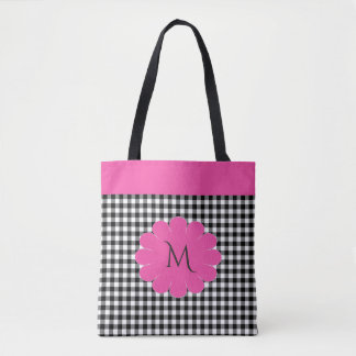 Flower Power Black Gingham Check Tote Bag