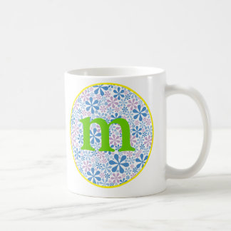 Flower power blue/green coffee mug