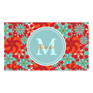 Flower Power Chic Monogram Pack Of Standard Business Cards