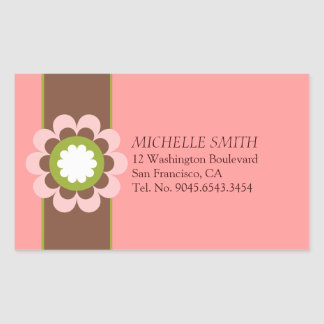 Flower Power Coral Peach Label Rectangular Sticker