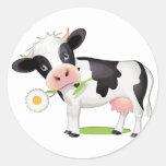 Flower Power Cow Round Stickers