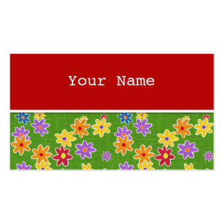 Flower Power Fabric Pattern + your ideas Pack Of Standard Business Cards