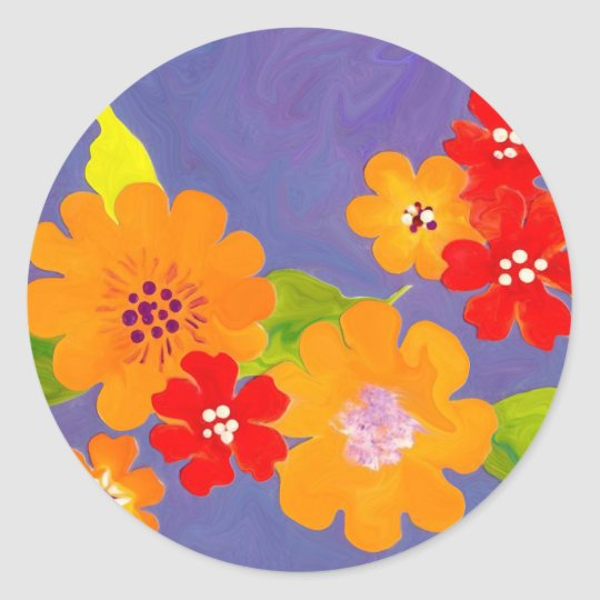 Flower Power floral design fun sticker