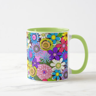 Flower Power floral Illustration mug