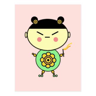 Flower Power Girl Postcard