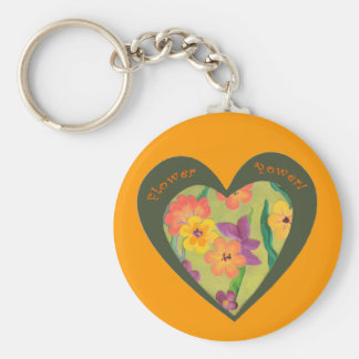 Flower Power heart. Make it easy to find your keys Basic Round Button Key Ring