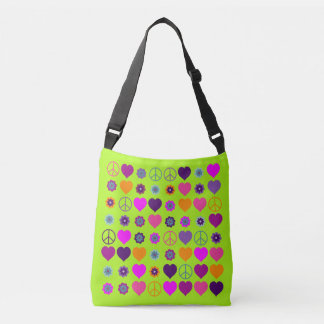 Flower Power Hearts Peace Blooms Pattern Crossbody Bag
