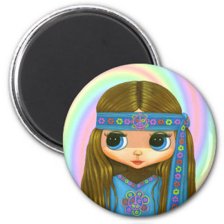 Flower Power Hippie Doll Magnet